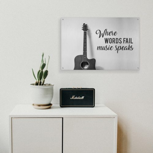 poster music speaks gitaar