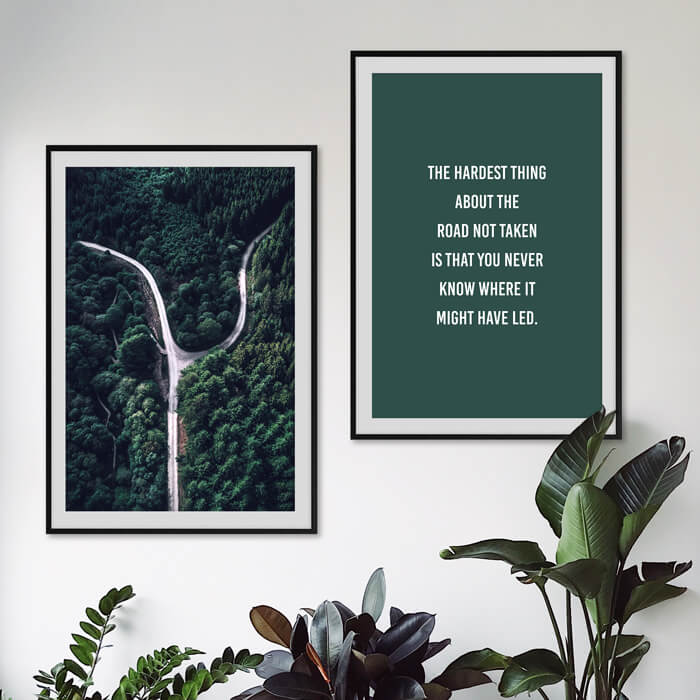 poster set bos weg quote groen