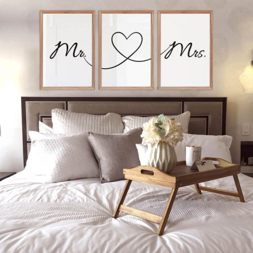 poster set mr & mrs tekst