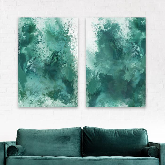 poster abstract blauw turquoise